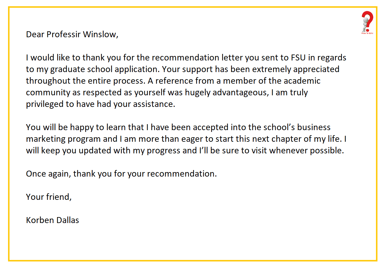 Thank You Letter For Recommendation After Acceptance