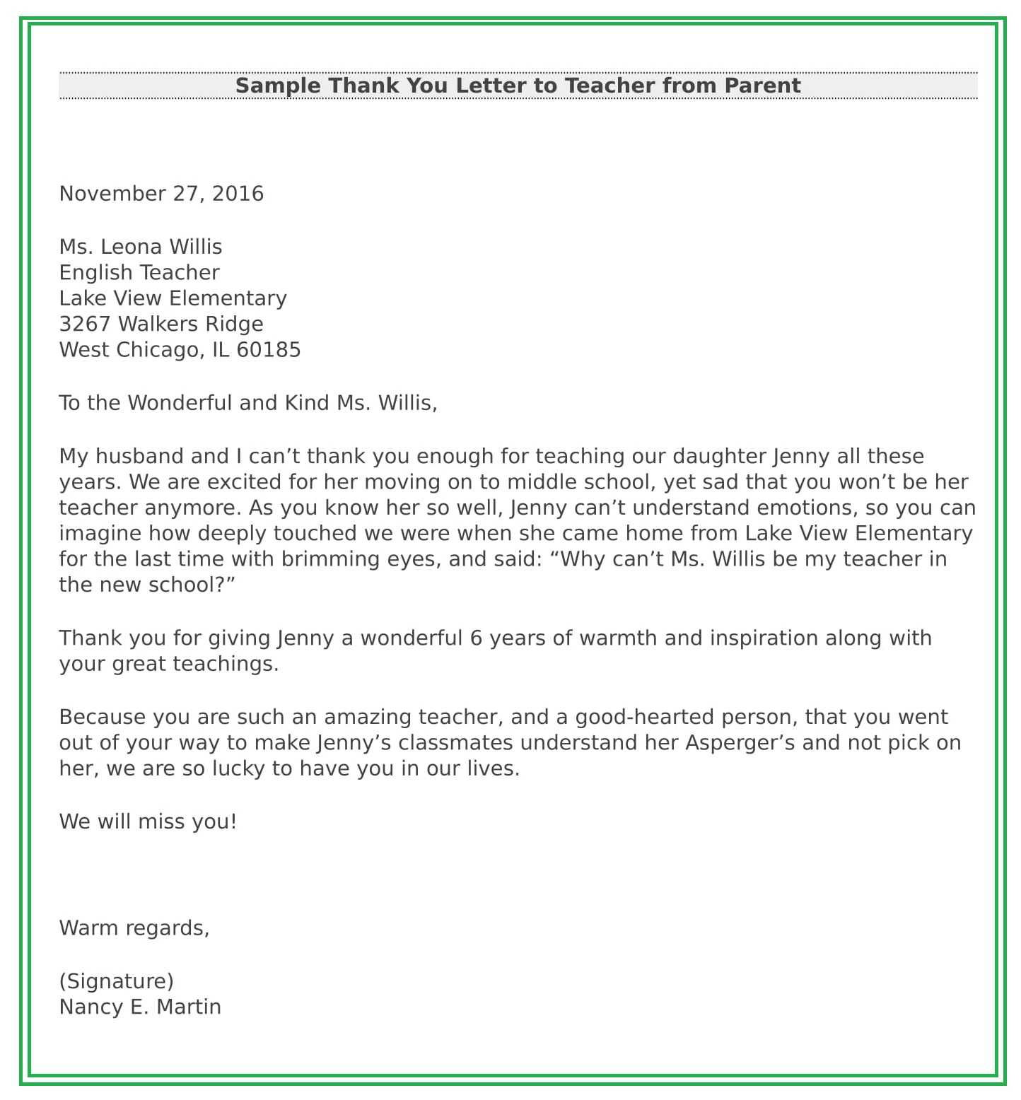 Thank you letter to teacher from parent