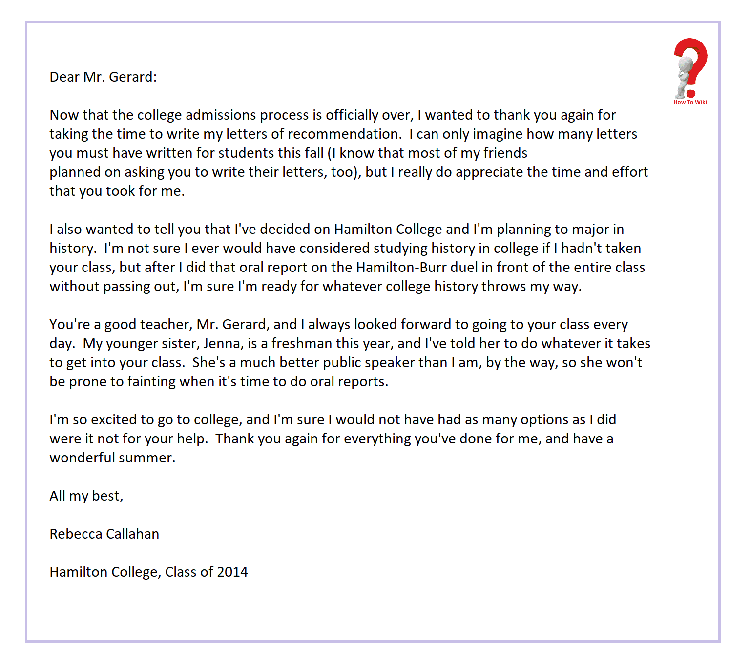 Thank You Note For Letter Of Recommendation Graduate School