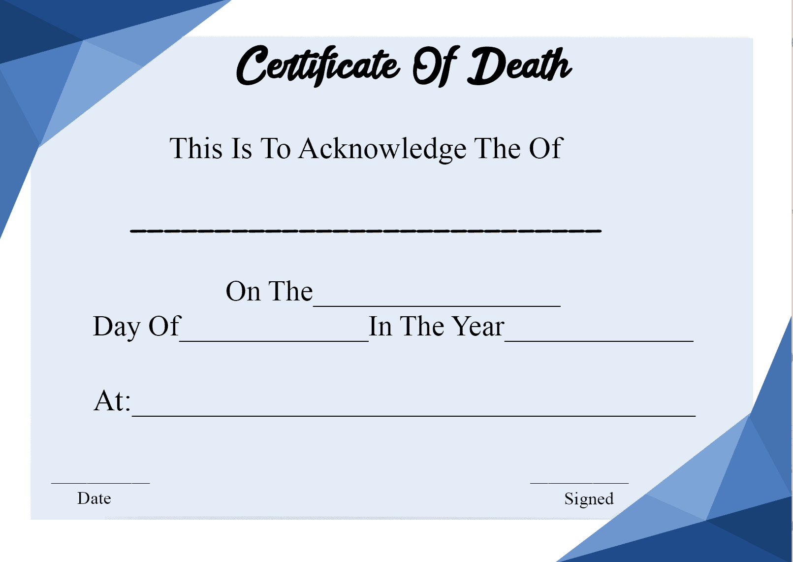 Download Certificate Of Death