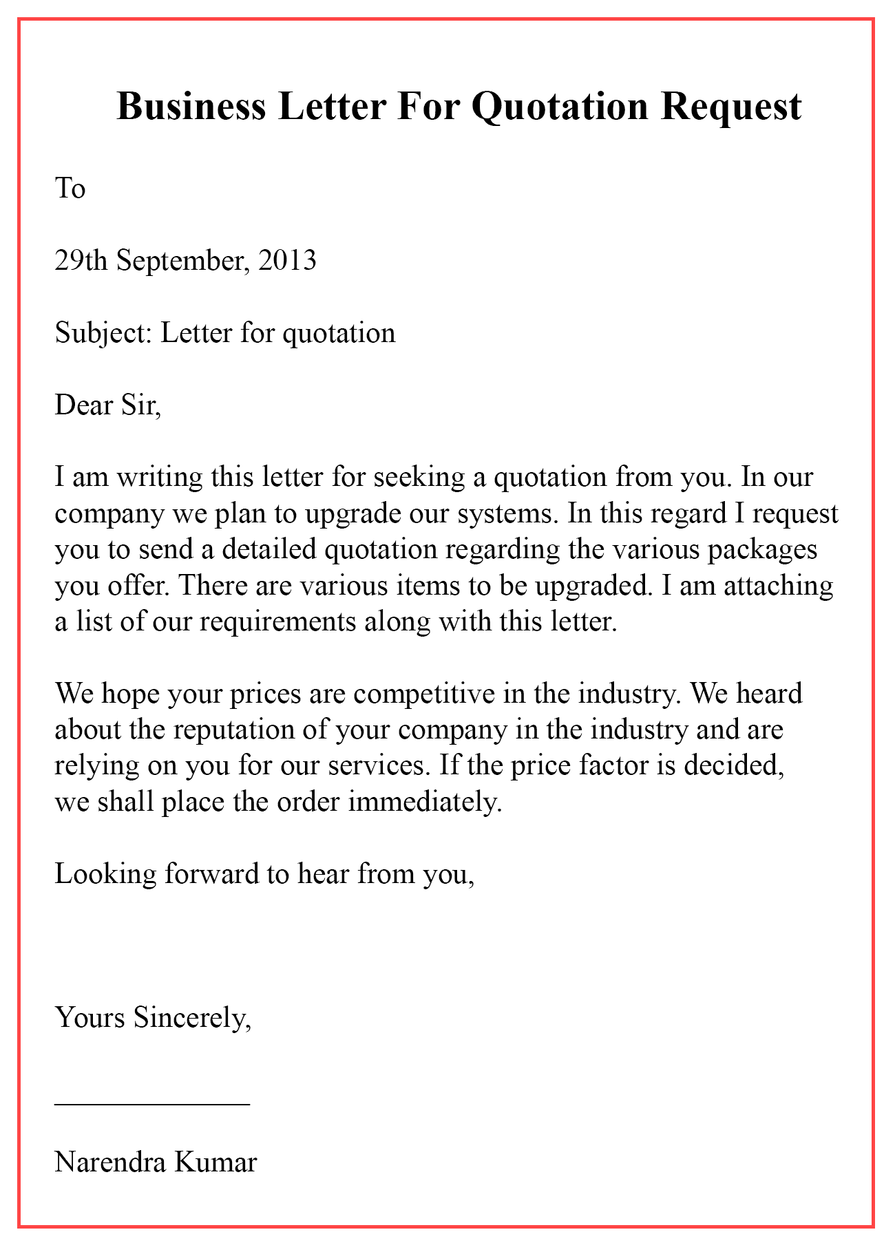 Business Letter For Quotation Request